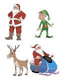 Santa, deer, elf