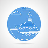 Blue round vector icon for steamer