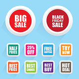 Special offer tag set with different promotions