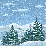 Christmas Winter Mountain Landscape