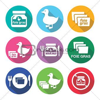 Foie gras, duck or goose flat design icons set