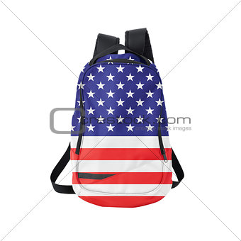 American flag backpack isolated on white