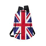 UK flag backpack isolated on white
