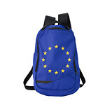 EU flag backpack isolated on white