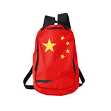 China flag backpack isolated on white
