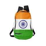 India flag backpack isolated on white