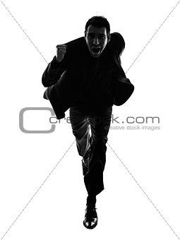 business man running silhouette