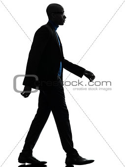 african black man walking serious silhouette