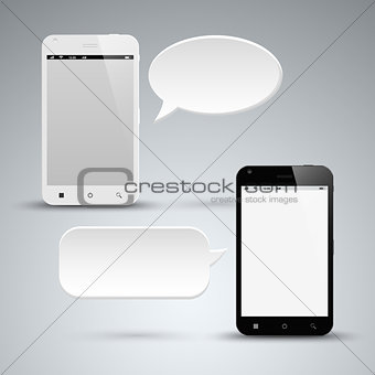 Abstract black and white smart phone with dialog bubble