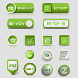 Collection web green buttons and pointers for shopping