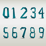 Folded blue paper numbers template