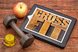crossfit word abstract on tablet