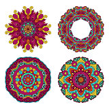 Colorful round floral design elements