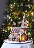 Gingerbread church Christmas tree background