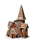 Gingerbread cookies Christmas house isolated