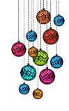Colorful Christmas balls group hanging