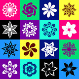 Flower icons in colorful squares