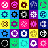 Gear wheel icons in squares