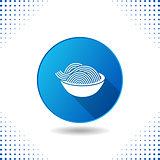 Spaghetti icon on blue button