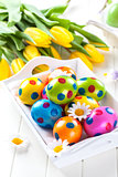 Easter eggs with spring flowers