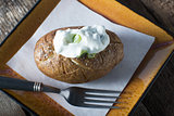 Baked Potato with Yoghurt and chive topping