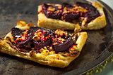 Baked beet and Feta tart with honey glaze