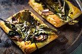 Baked beet greens and Feta tart with honey glaze