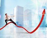 Businessman lifts statistics