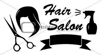 beauty symbol with woman hair and scissors
