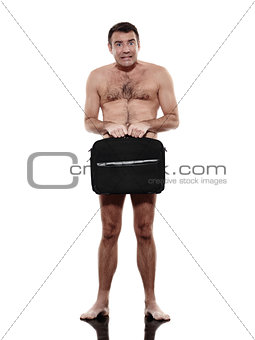 business man naked with briefcase silhouette