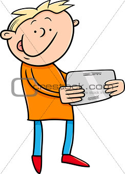 boy with tablet cartoon illustration