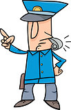 policeman with whistle cartoon