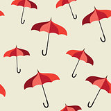 Seamless pattern with red umbrellas