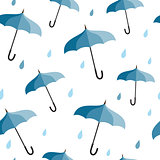 Seamless pattern with blue umbrellas
