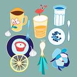Set of different food and drink