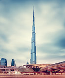 Burj Khalifa and Dubai's modern metro station