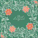 vector red and green floral pattern