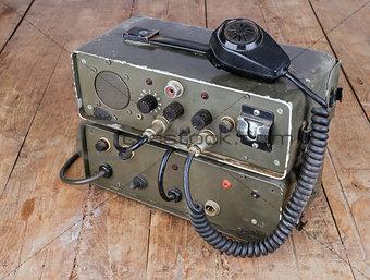 old amateur ham radio on wooden table