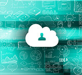 Cloud Computing concept with infographics sketch set: design elements