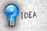 Infographics Idea Lamp with Business doodles Sketch background: infographics