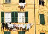 The laundry hanging in the sun