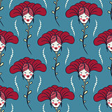 blue spring or summer seamless pattern