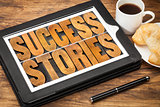 success stories on digital tablet