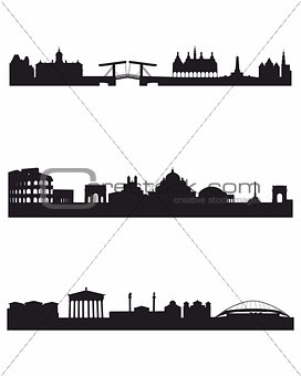 Three capitals silhouettes