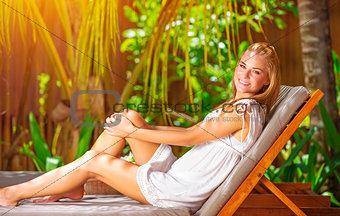 Cute female on tropical resort