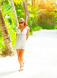 Pretty woman on tropical island