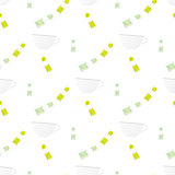 Seamless pattern with cup and teabag