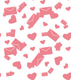 Pink envelope and hearts