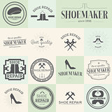 Set of vintage shoes repair and shoemaker labels