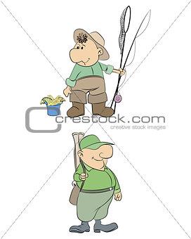 Fisherman and hunter